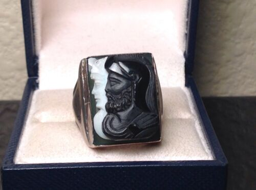 ROMAN Silver SARDONYX Double Cameo MEN'S RING Vintage / Antique SIZE 9