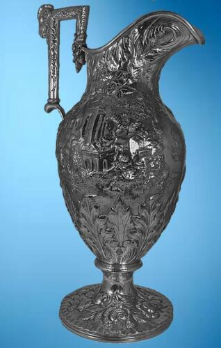 S.KIRK & SON COIN SILVER ETRUSCAN PATTERN (LANDSCAPE/CASTLE) PITCHER/ EWER,1850s