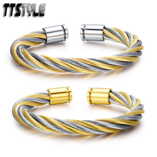 TTstyle Silver/Gold Twisted Stainless Steel Cuff Bangle NEW