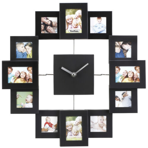 VonHaus Black Aluminium Modern Multi 12 Picture Photo Frame Wall Collage Clock <br/> Free Extended 2 Year Warranty