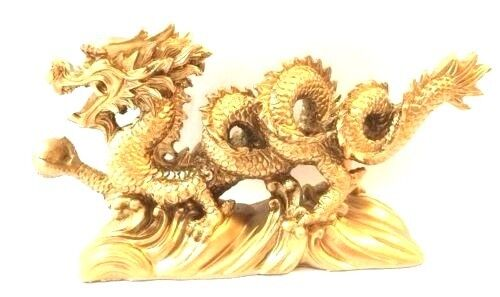 "NEW Chinese Feng Shui Dragon Figurine Statue for Luck & Success 6"" LONG GOLD"