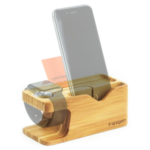 Apple Watch and iPhone Stand Bamboo Spigen® [S370] Charging Dock Station Mount