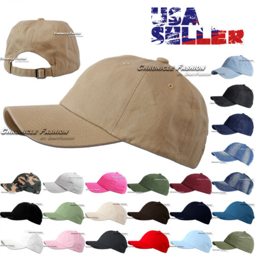 New Plain Washed Cotton Baseball Cap Solid Curved Bill Adjustable Style Hat Caps