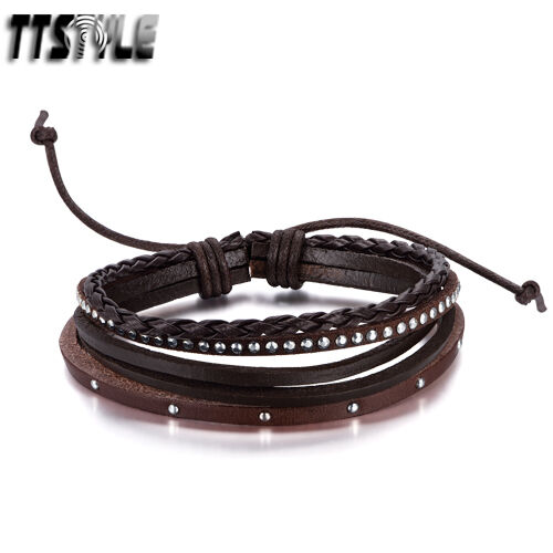 TTStyle Five-Row Brown Bling Silver Stud Leather Bracelet Wristband NEW