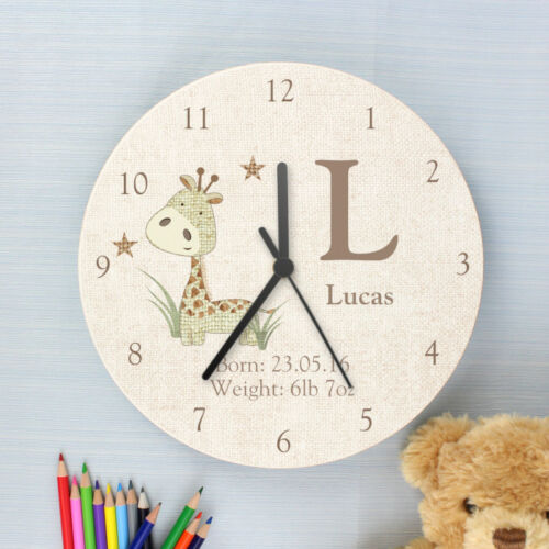 Childrens Personalised Giraffe Wooden Bedroom Clock - Name and Message, Gift