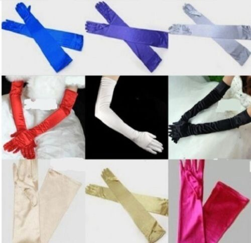 LADIES LONG OPERA EVENING SATIN FINGER GLOVES PARTY DRESS PROM <br/> High Quality*Free & Fast Post*UK Stock*UK Seller