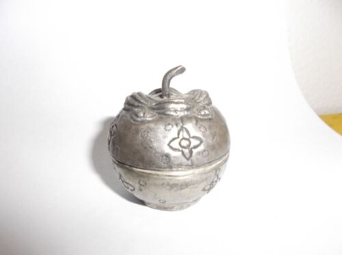 Antique Chinese Repousse Silver Miniature Box, Pomegranate, 45mm