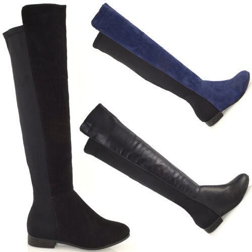 Womens High Over The Knee Stretch Flat Zip Elasticated Leg Ladies Low Heel Boots