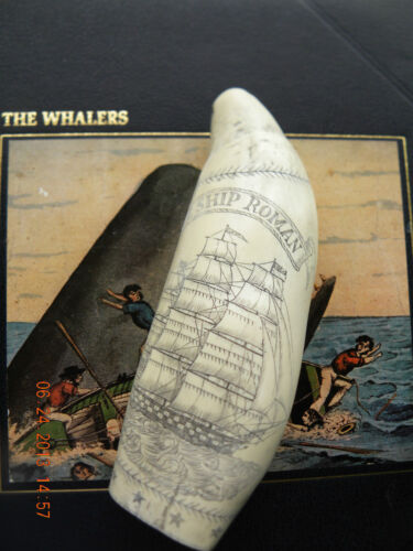 """SCRIMSHAW WHALE TOOTH REPLICA  """"ROMAN"""" 7 inches long GREAT DETAILS"""