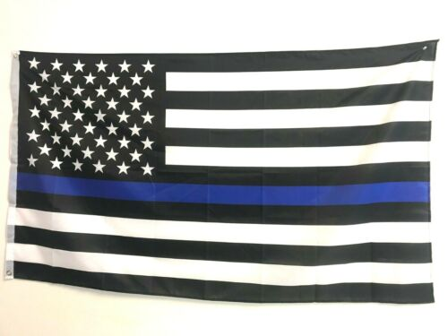 American Flag 3x5 ft Thin Blue Line US Black & White Police Policemen Support