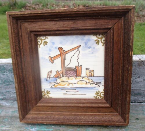 Delft Tile Dutch Polychrome Well Hand Painted Landscape Gorgeous Framed