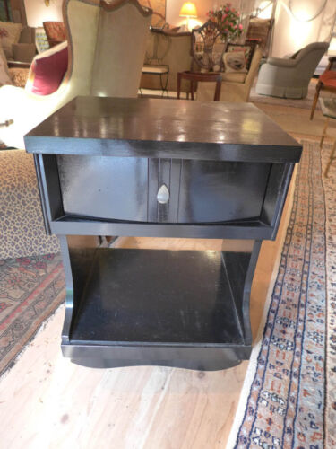 Midcentury Modern Nightstand painted in Gloss Black