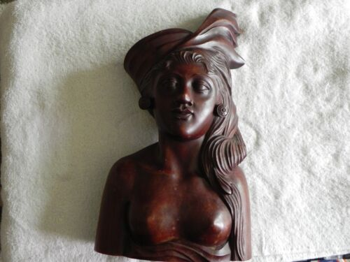 """Vintage Indonesian Female Bust From Bali 15""""high 8 1/2 """" wide Ironwood"""