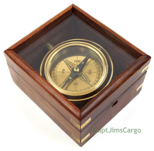 "Brass Lifeboat Gimbal Ship Compass 4.5"" Display Case Decorative Nautical Gift"