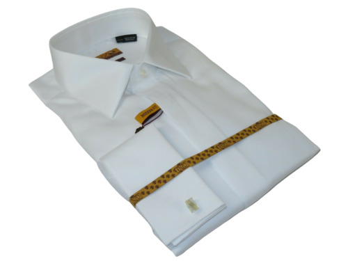 Men 100% Egyptian Cotton Shirt French Cuffs Wrinkle Resistance ENZO 71402 White