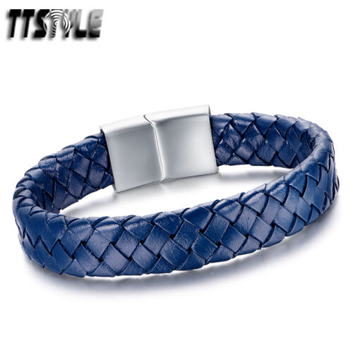 TTstyle THICK Royal Genuine Blue Leather S.Steel Buckle Bracelet Wristband NEW