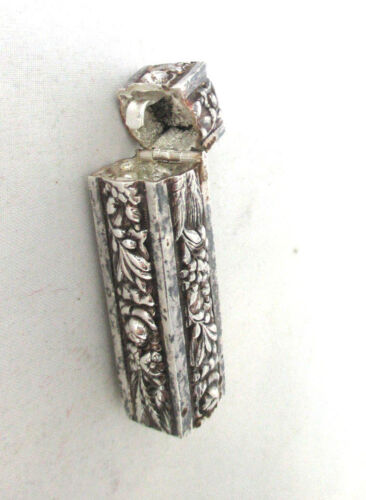 cast SILVER Bird & fruit continous design NEEDLE CASE;ANTIQUE c1800's,hinge top