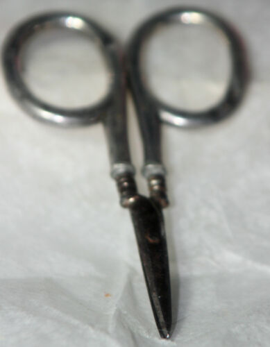ORIGINAL ANTIQUE c1900~~STERLING EMBROIDERY SCISSORS~~made in Germany