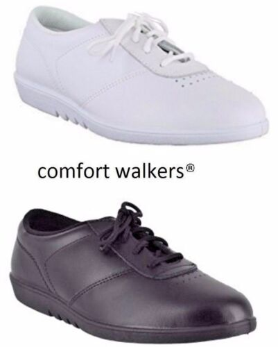 Ladies NHS Flat Comfy White Black Leather Casual WASHABLE Shoes Sizes 3 - 9 UK