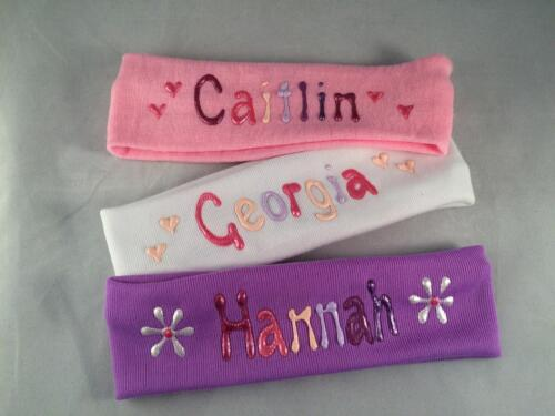 Baby personalised stretchy head bands pink,white or mauve birth to 1 yr handmade