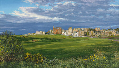 """""""The 17th Hole 2015 The Road Hole the Royal and Ancient"""" L. Hartough 20"""" Canvas"""