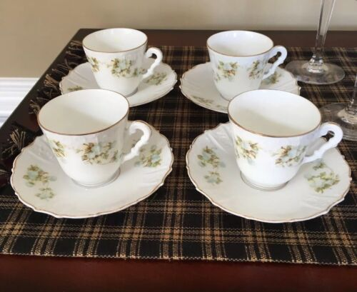 Antique OHME, HERMANN Porcelain Germany Set Of 4 Demitasse Cups And Saucers