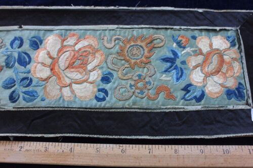 """Lovely 19thC Antique Chinese Blindstitch Silk Sleeves In Silk Frame~32""""L X 6""""W"""