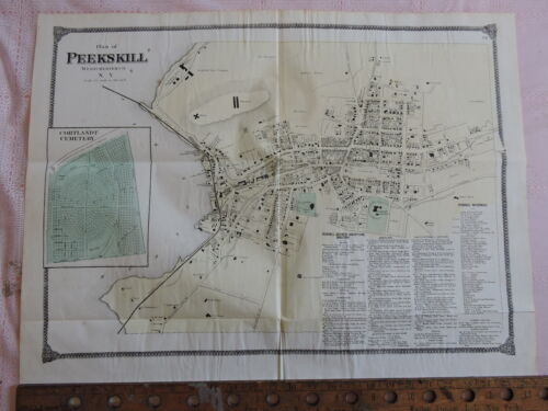 "Original 1867 PEEKSKILL Hudson River Westchester New York 20""x27"" Dripps Map"