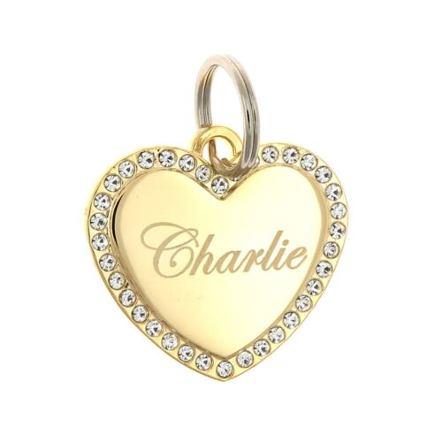 Custom Engraved Personalized Gold Plated Heart CZ Stones Dog Pet ID Bling Tag