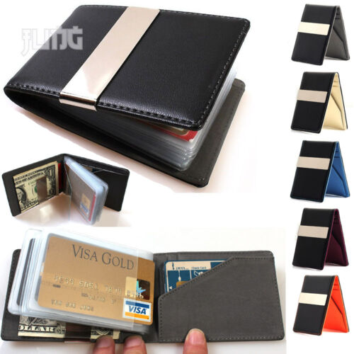 Mens Leather wallet Card holder Money clip Slim thin breast travel bifold lot 1