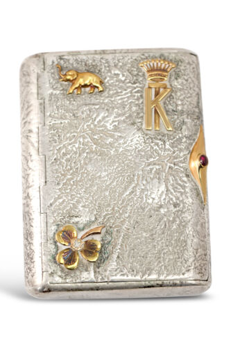 Imperial Russian Samorodok Silver Cigarette Case With Gold Ornaments ~ UNIQUE