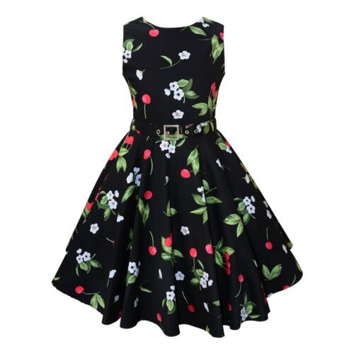 Vintage Retro 1950s Cherry Floral Print Swing Rockabilly Full Circle Dress Black