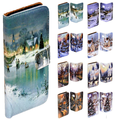 For Huawei Series Mobile Phone - Snow White Christmas Print Wallet Phone Cover