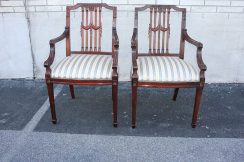 Beautiful Pair of English Regency Style Carved Mahogany Armchairs Arm Chairs