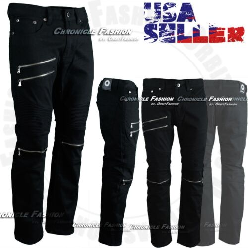 Men's Twill Pants Slim Straight Fit Moto Biker Zippers Urban Trousers Casual New