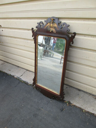 53847 ANTIQUE MAHOGANY FEDERAL WALL MIRROR WITH PHOENIX