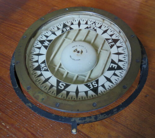 "RARE E.S. RITCHIE 10 1/2"" MARINE COMPASS - BOSTON #25741"