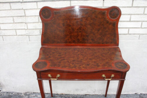 Great English Hepplewhite Mahogany Leather Flip Top Game Card Table, c. 1920
