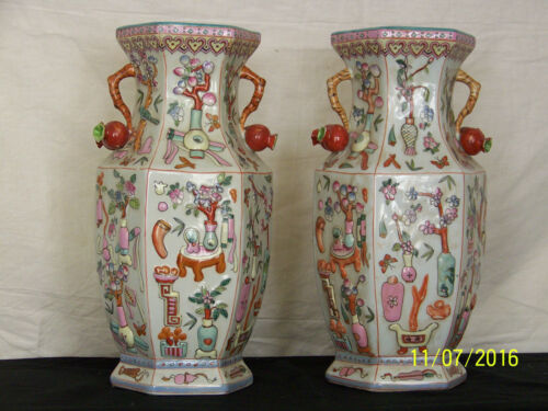 Pair Chinese Qing Dy Qianlong Reign Mark 6 Sided Famille Rose Vases