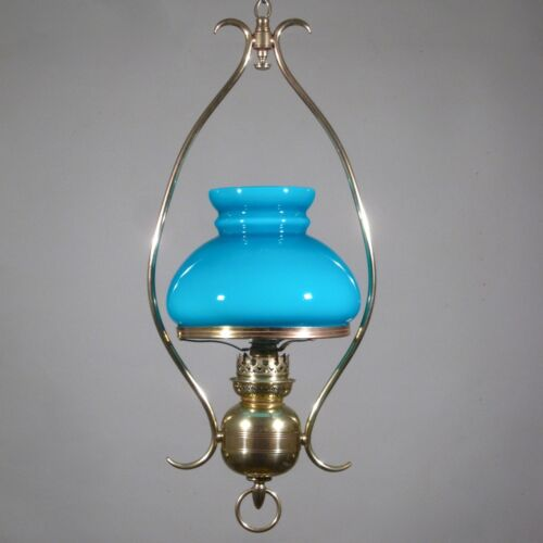 Antique FrenchHanging Lamp, Chandelier, Turquoise Blue Opaline Glass Shade