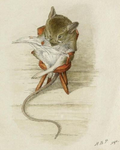 Mouse Reading Newspaper  by Beatrix Potter   Paper Print Repro