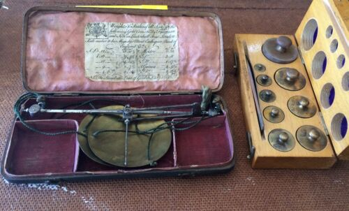 RARE: Late 18th c. Hand Held Gold Scale; Freeman and Son, Leadenhall St, London