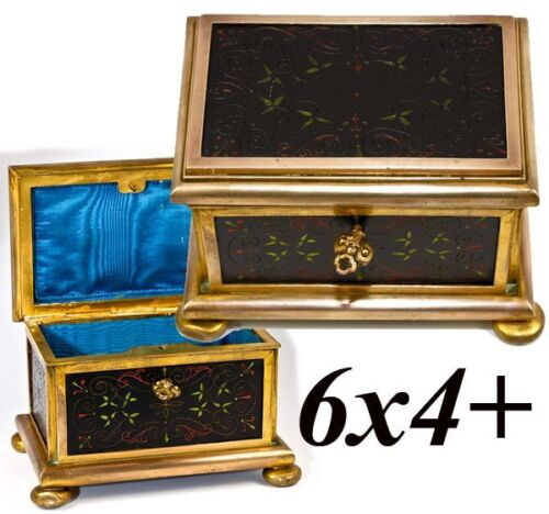 Antique French Pietra Dura & Bronze Jewelry Casket, Box, Painted Marble