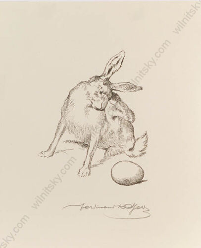 """Ferdinand Karl Gold (b.1882) """"Easter Bunny"""", Lithograph, 1910s"""