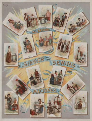 1892 Singer Sewing Machine, antique advertisement, home decor, 17x13 Print