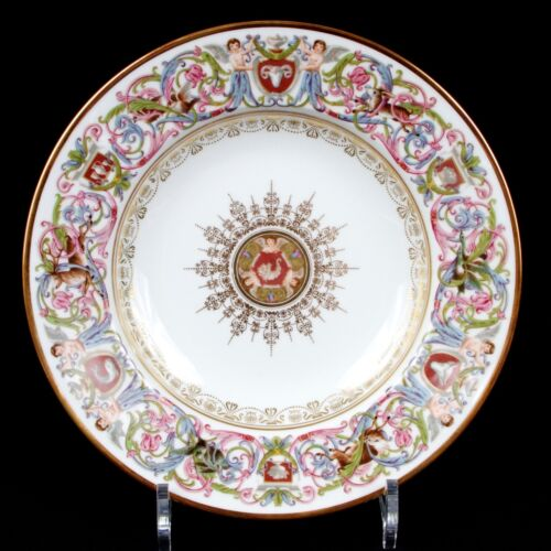 10 Antique Sevres Style St. Cloud Soup Plates