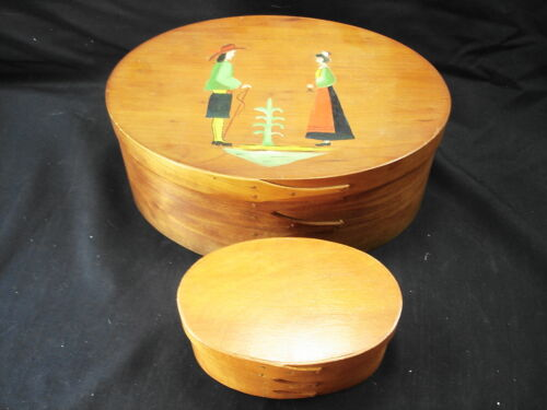 PAIR OF SHAKER STYLE OVAL WOODEN BOXES - ONE IS HANDPAINTED ORLEANS CARPENTERS