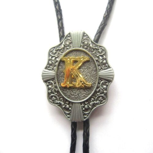 "Initial Letter ""K"" Western Cowboy Rodeo Bolo Tie"