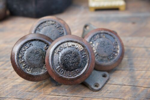 "Rare Set 4 Heavy Antique Cast Iron Roll-Over ""Creeper"" Swivel Industrial Casters"