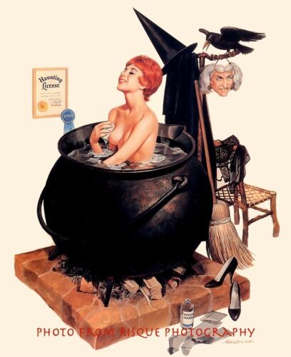 "Nude Witch Taking a Bath in a Cauldron 8.5x11"" Photo Print Naked Female Sensual"